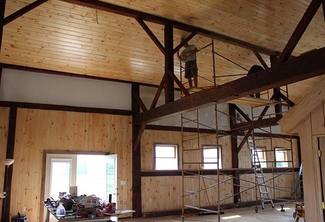 stever hill vineyards tasting room progress rafters